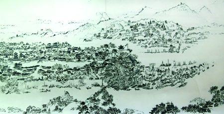 陈德君的《古城重庆图》 记者 龙在全 翻拍