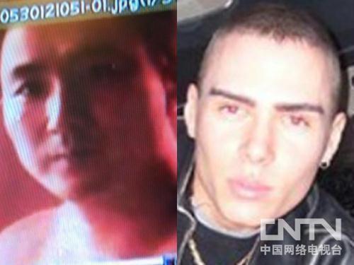 林俊(左)及嫌疑人玛格诺塔