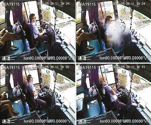大巴司机高速路上遭飞来铁片袭击