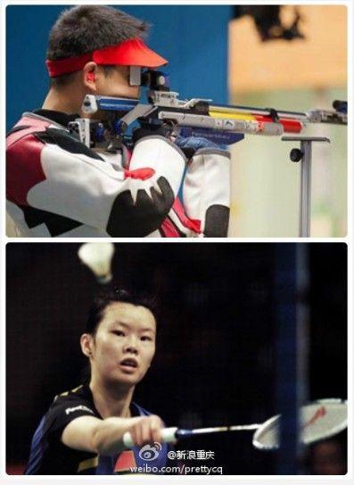 射击选手王涛(上图)和羽毛球选手李雪芮(下图)