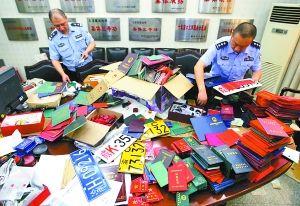 昨日,九龙坡区九龙园派出所,民警正在对查获的部分假证、假车牌进行清点