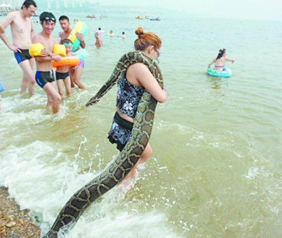 女子扛蟒蛇引来众人围观。
