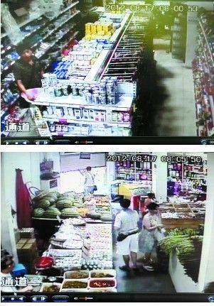 捉贼过程:男子又到日用品货架前→店方关门→男子被关→民警赶来。