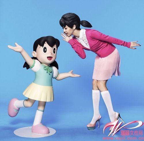 薛凯琪扮演《多啦a梦》里的静香,可爱无极限