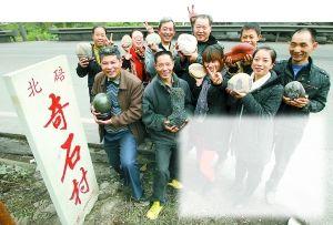 北碚区东阳街道先锋村的村民靠捡奇石出卖为生,他们不种地,每周都会到长江边和嘉陵江边捡石。村长说,他以前种地年收入不超过2000元,现在一个月捡石头能挣3000元以上