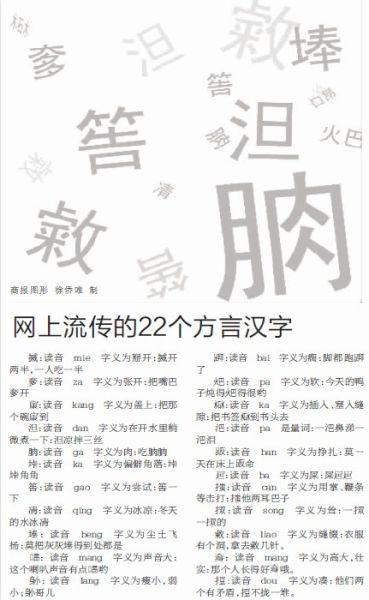 网上流传的方言汉字