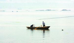 昨日,因长江水势平稳,仍有渔民驾船在江中撒网打鱼
