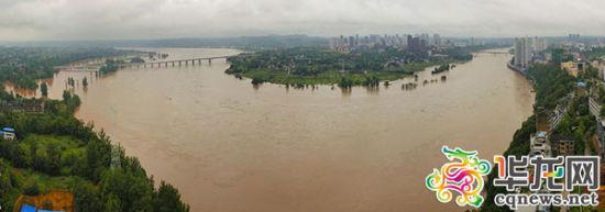 涪江洪峰通过潼南境。