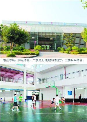 学弟学妹们,这里是体育馆,一楼是篮球场、羽毛球场,二楼是上健美操课的地方