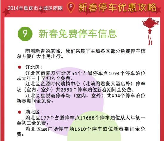 重庆主城春节期间各区占道停车点可免费停车