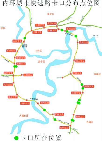内环城市快速路卡口分布点位图