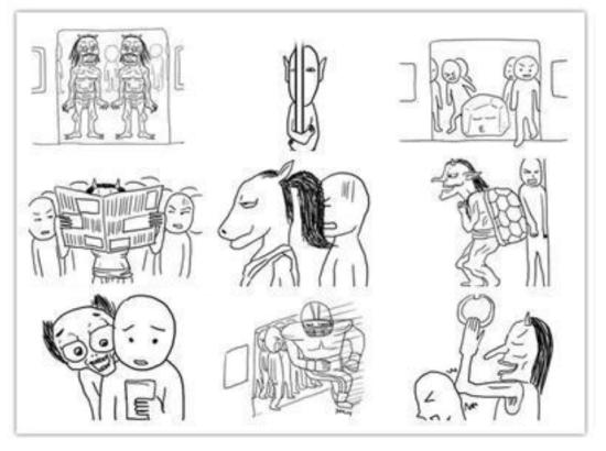 程萌7张手绘北京地铁漫画