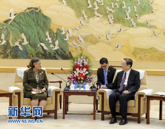 4月10日,中国全国政协主席俞正声在北京会见泰国公主诗琳通。新华社记者 张铎 摄
