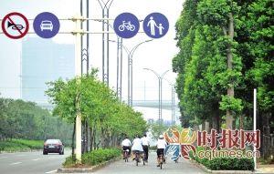 大学城的专用自行车道为出行市民提供了不少便利和安全