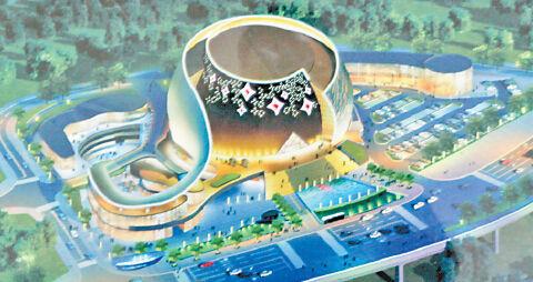"""主场馆由两个圆弧形的造型组成,比喻重庆被长江、嘉陵江""""两江环抱"""""""