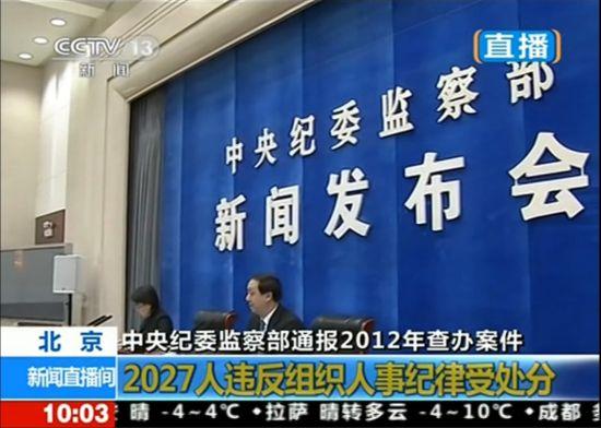 视频:中纪委通报2012年查办大案 包括薄熙来案