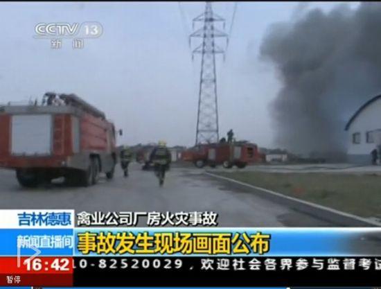 视频:吉林禽业公司火灾发生时画面公布