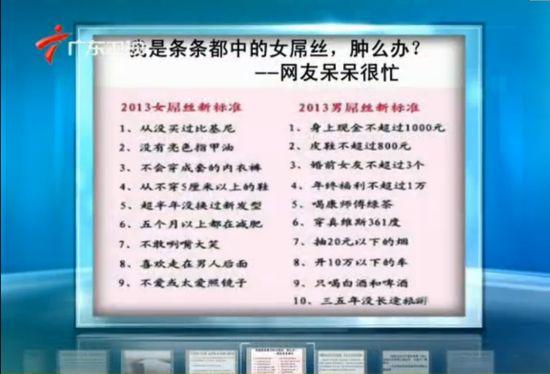 视频:网曝2013男女屌丝新标准