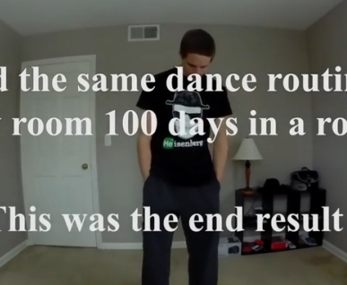 小伙100天跳同一舞蹈 剪辑后服装百变