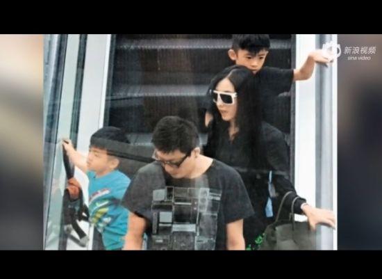 张柏芝带子返港 谢霆锋与儿子玩耍