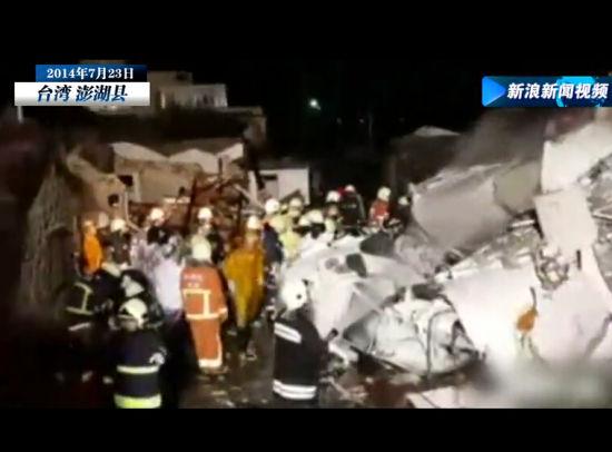 台机失事现场 房屋坍塌机体残骸堆积成山
